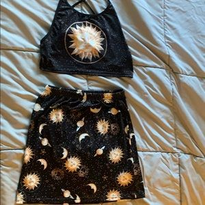 Dresses & Skirts - Crop top and skirt with galaxy pattern